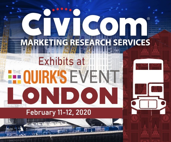 Civicommrs exhibiting their marketing research services at Quirk's Event, London.